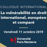 Colloque – La vulnérabilité en droit international, européen et comparé