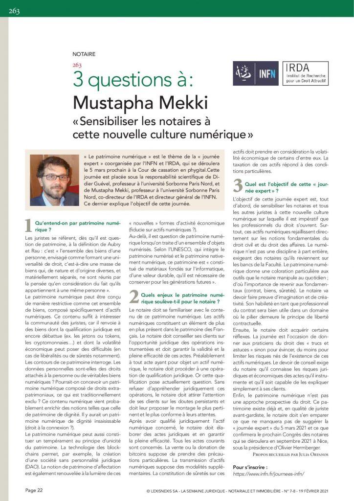 interview Mustapha Mekki Journee patrimoine numerique